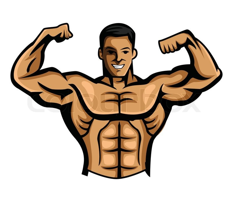 Body builder stock vector colourbox - Cartoon body builder ...