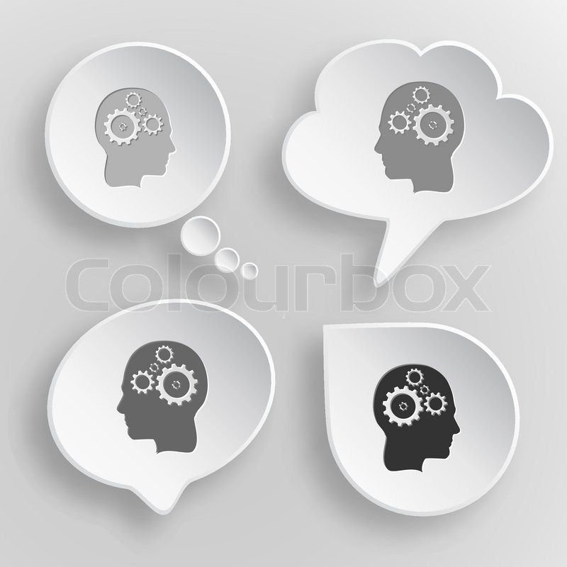 Human Brain Black And White Human Brain White Flat Vector