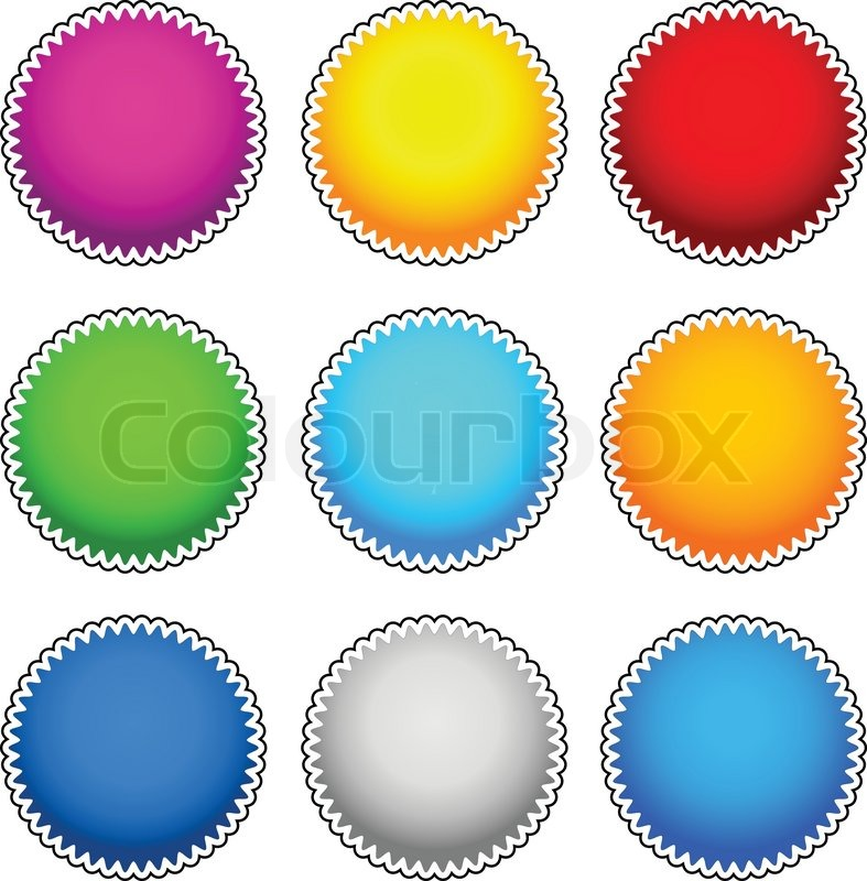 colorful starburst flash badge set vector graphics stock vector
