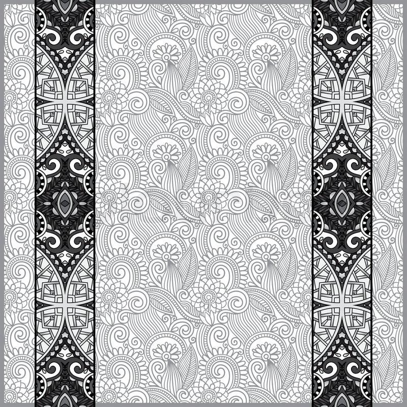 grey lace border stripe in ornate floral background black