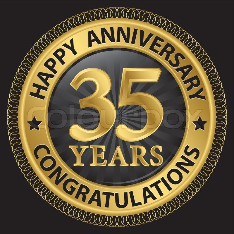 35 Years Happy Anniversary Congratulations Gold Label With Ribbon