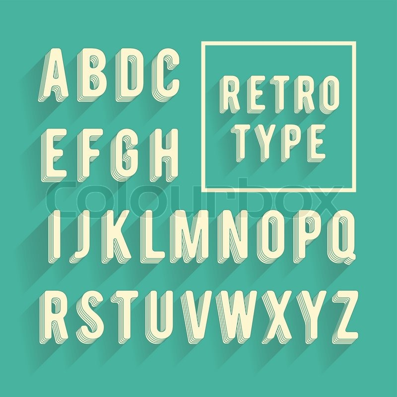 Retro Poster Alphabet Font With Shadow Latin Letters