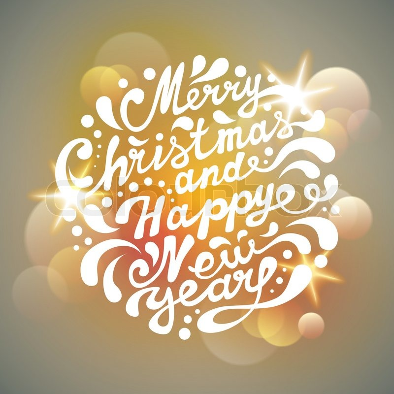 merry christmas and happy new year typography handwriting light background stock vector colourbox