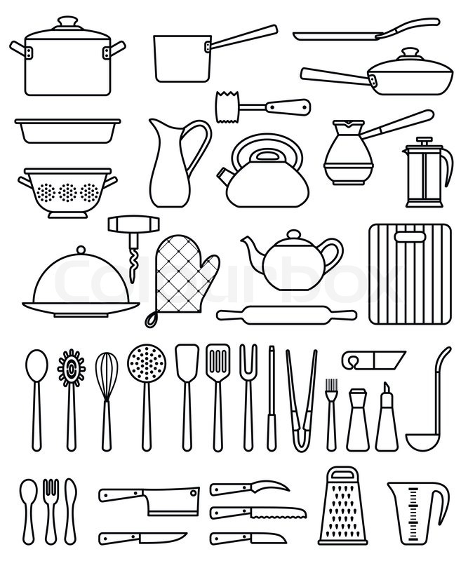 Set of silhouette kitchen utensils and collection of ...