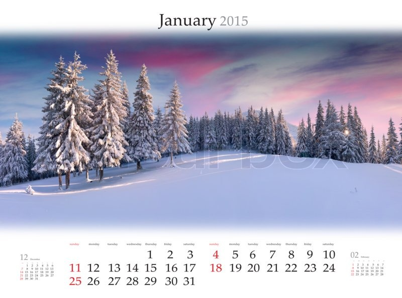 calendar 2015 january beautiful winter landscape in the mountains stock photo