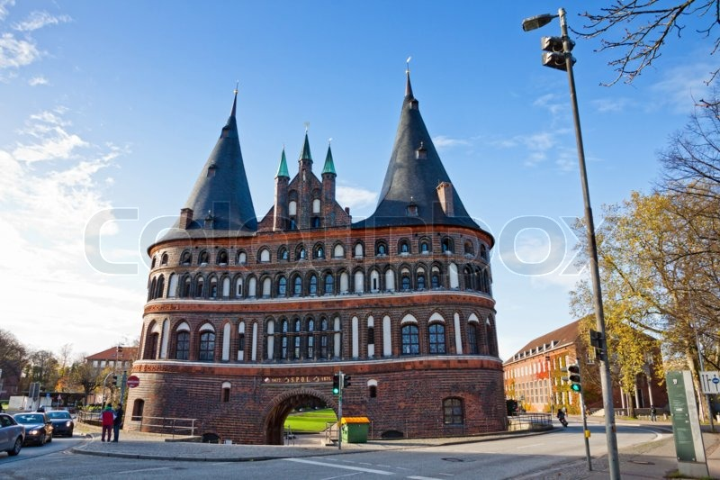 Stock image of 'The Holsten Gate (Holstentor) in Lubeck old town, Schleswig-Holstein region, Germany'