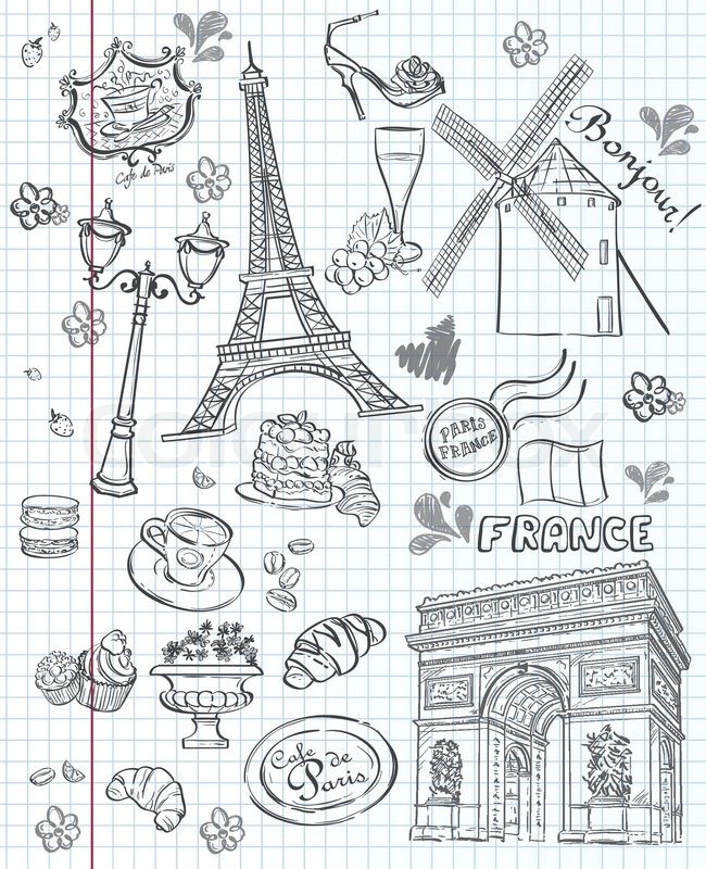 Set of images of various attractions, Paris, FranceSet of images of various attractions, Paris, France. Black contour, vector