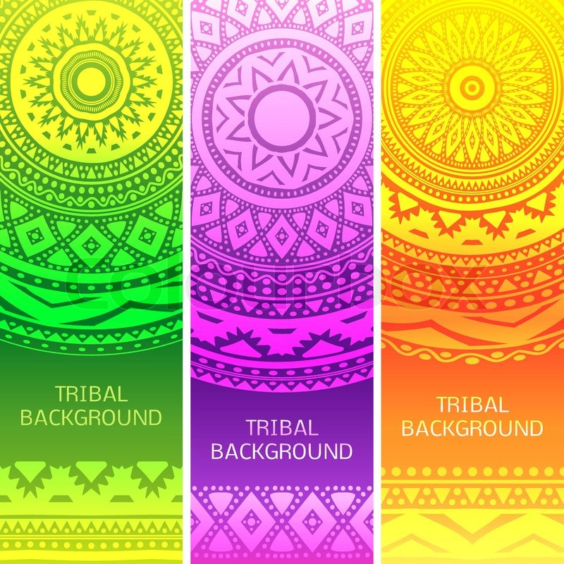 Tribal Ethnic Vintage Banners Vector Illustration For