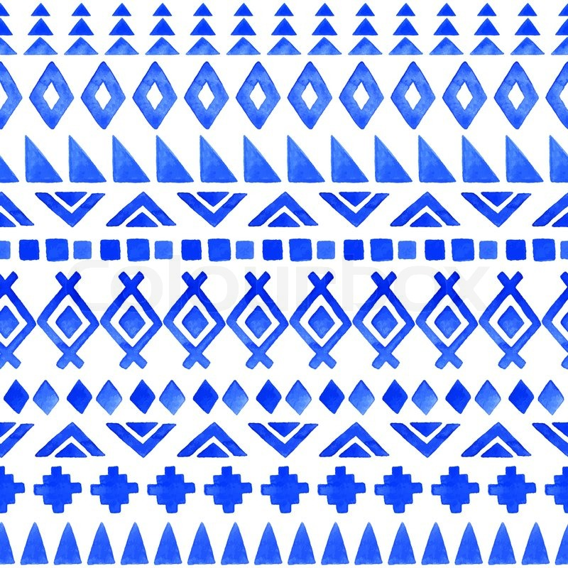 Watercolor Ethnic Seamless Pattern Aztec Geometric Background Hand Drawn Blue Modern Abstract Wallpaper Vector Illustration