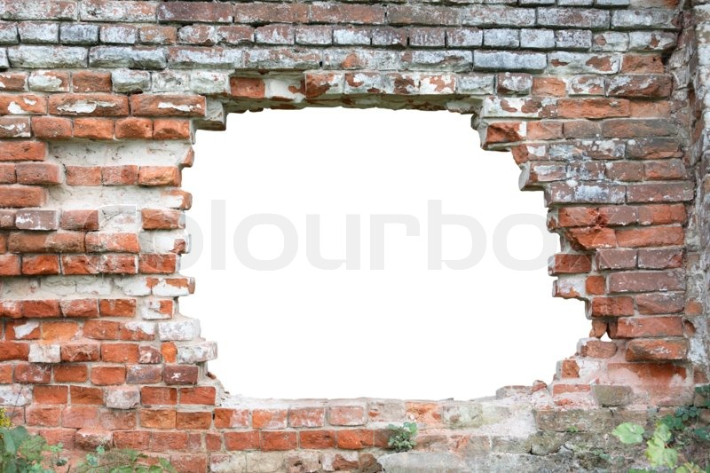 Hole in old brick wall. Hole isolated with clipping path for your text or images, stock photo