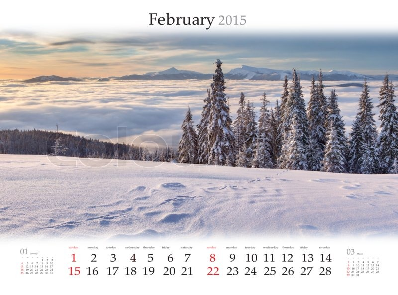 calendar 2015 february beautiful winter landscape in the mountains stock photo