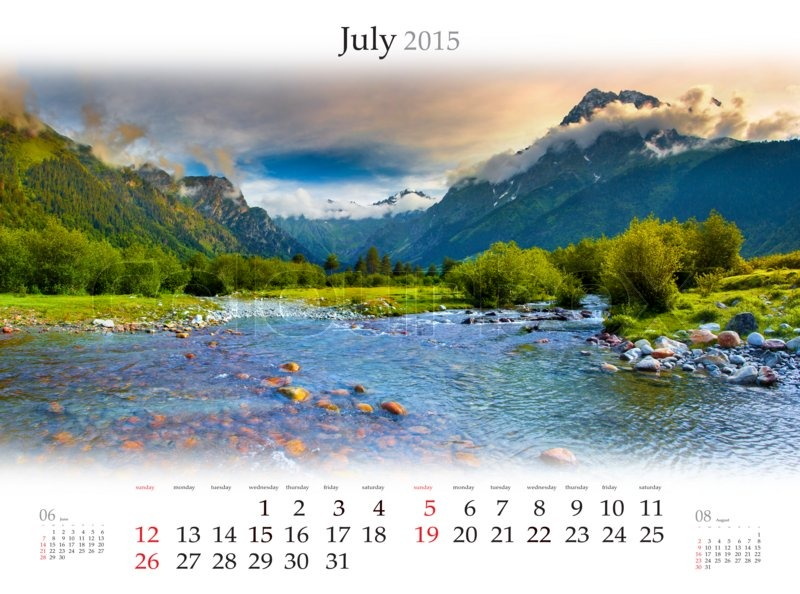 calendar 2015 july beautiful summer landscape in the mountains stock photo