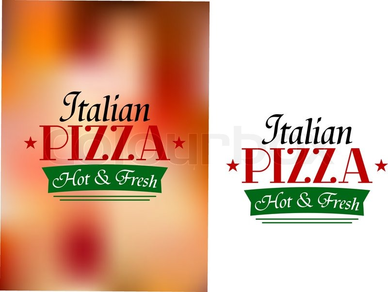 Label with text italian pizza hot and fresh in green and red on two