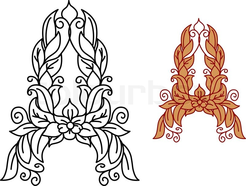 Floral Letters Coloring : Herbarium font type herbal vector letters stock 398693746
