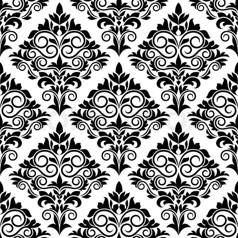 Black and white arabesque design with scrolls and leaves in a bold motif arranged in a seamless - White black design ...