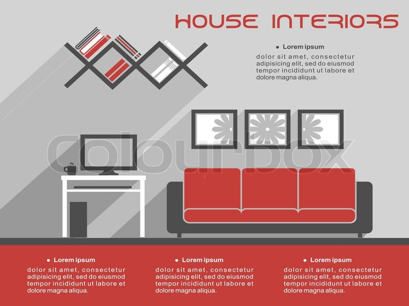 House Interior Design Infographic Template Showing A