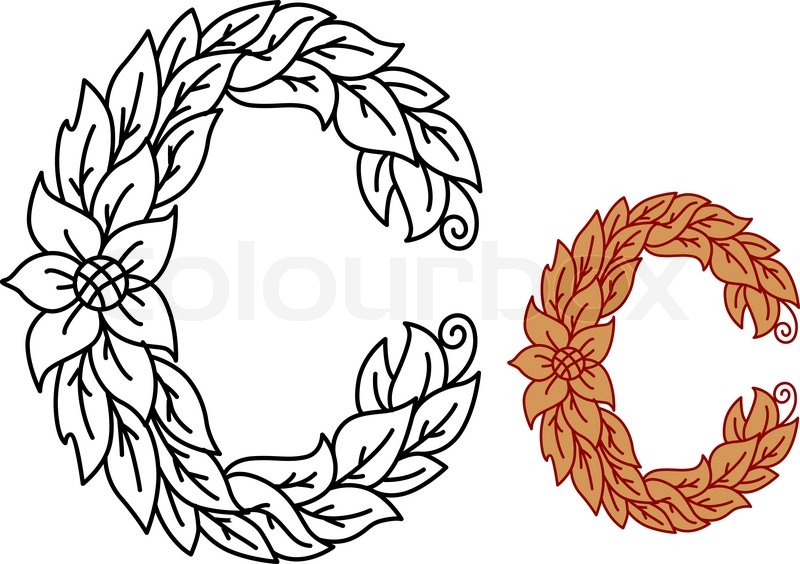 Floral And Foliate Alphabet Letter C With Leaves Curling Tendrils For A Natural Organic Or Medieval Font In Black Outline Red Brown Variations