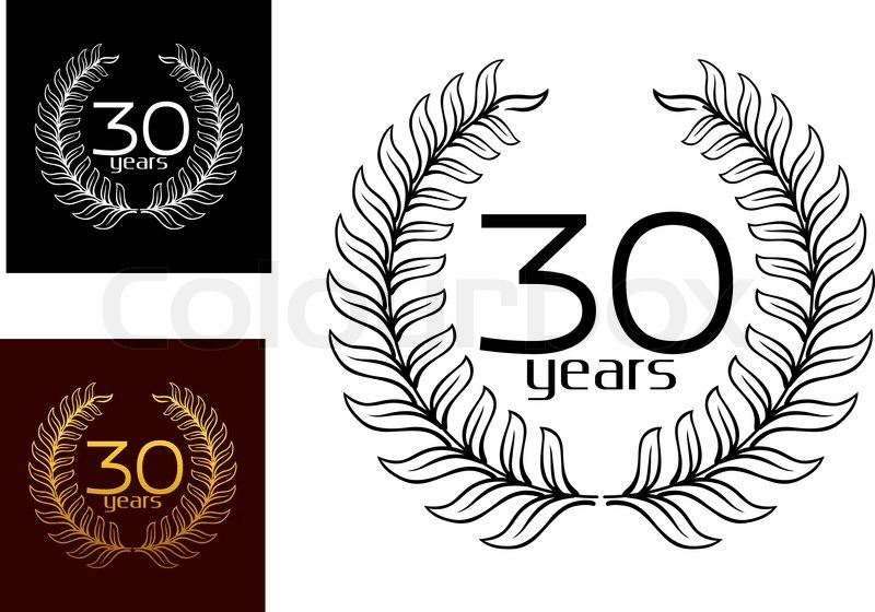 30 years anniversary wreaths vector designs with the text enclosed