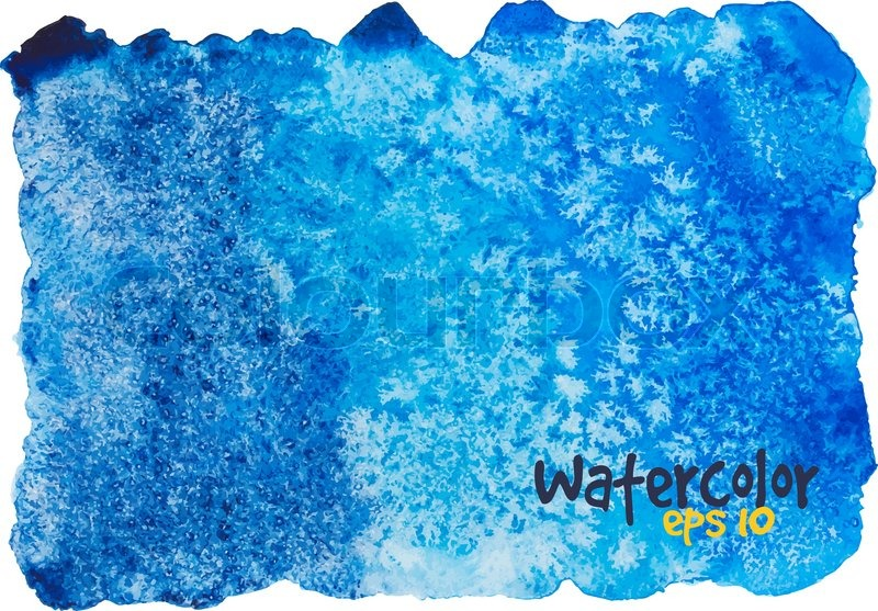 Abstract Watercolor Background In Shades Of Dark Blue On White Vector