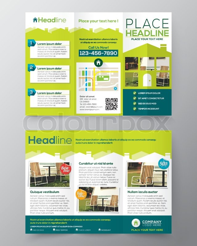 Real Estate Brochure Flyer Design Vector Template In A Size Tri