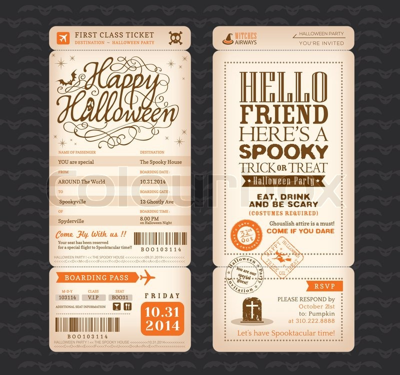 Halloween Party Vintage Style Boarding Pass Ticket Vector Template