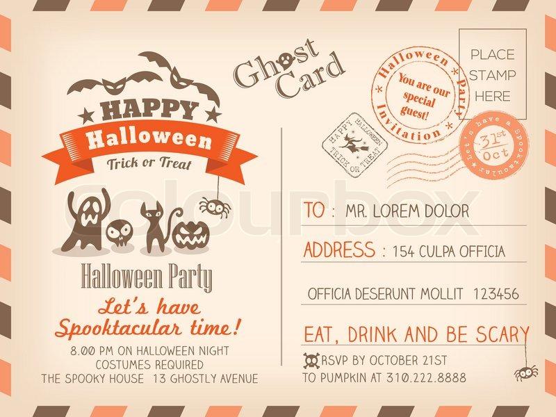 happy halloween vintage postcard invitation background design, Powerpoint templates