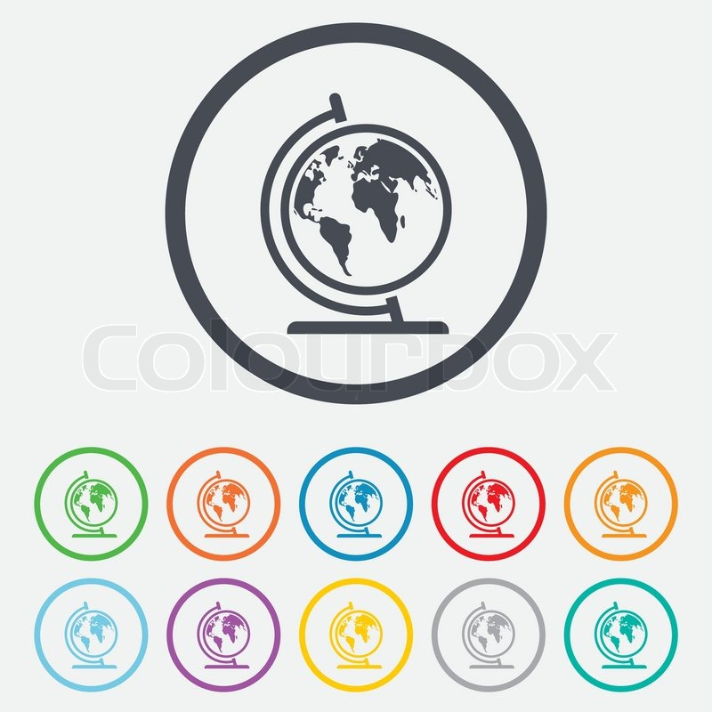 Globe sign icon world map geography symbol globe on stand for world map geography symbol globe on stand for studying round circle buttons with frame vector stock vector colourbox gumiabroncs Images