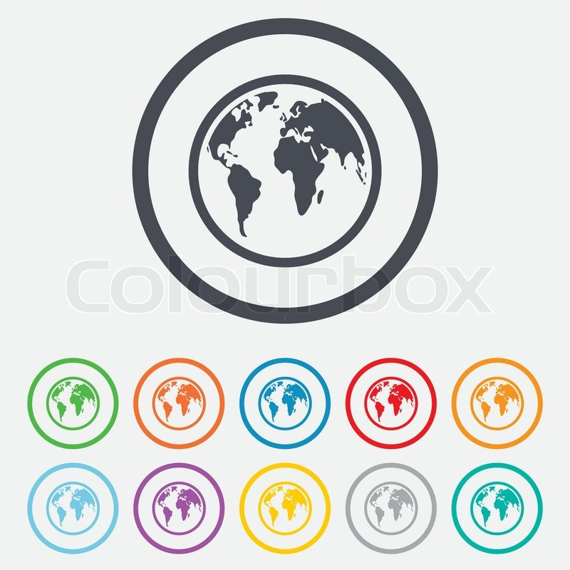 Globe sign icon world map geography symbol round circle buttons world map geography symbol round circle buttons with frame vector stock vector colourbox sciox Gallery