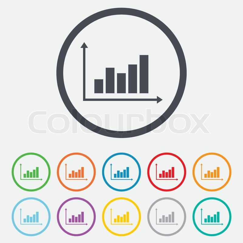 Graph chart sign icon. Diagram symbol. Statistics. Round circle ...