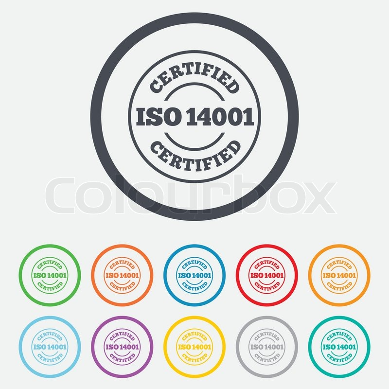 ISO 14001 Certified Sign Icon Certification Stamp Round Circle Buttons With Frame Vector
