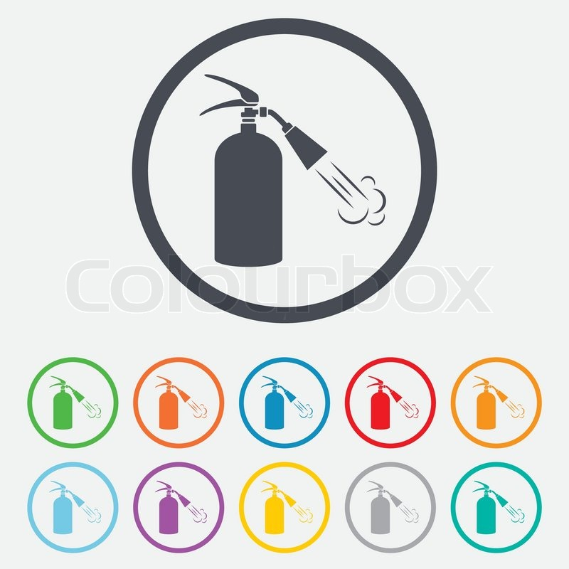 Fire Extinguisher Sign Icon Fire Safety Symbol Round Circle