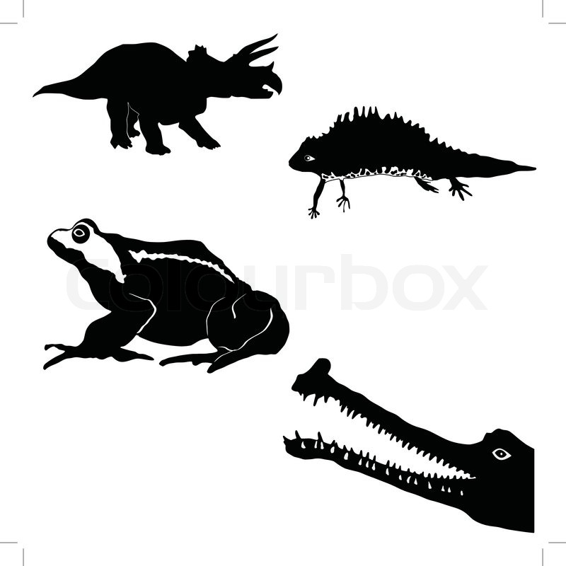 Gavial,newt,toad,triceratops\