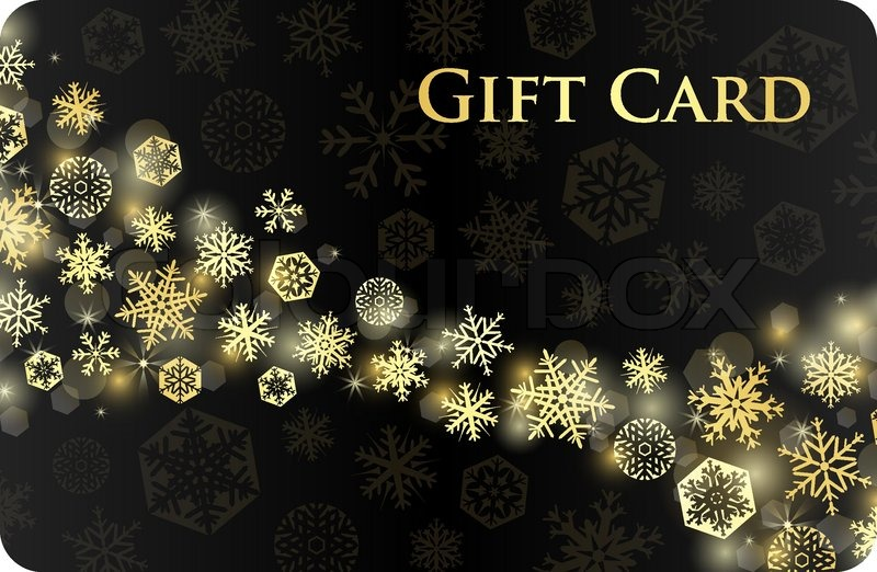exclusive black christmas gift card with stream of golden snowflakes stock vector colourbox
