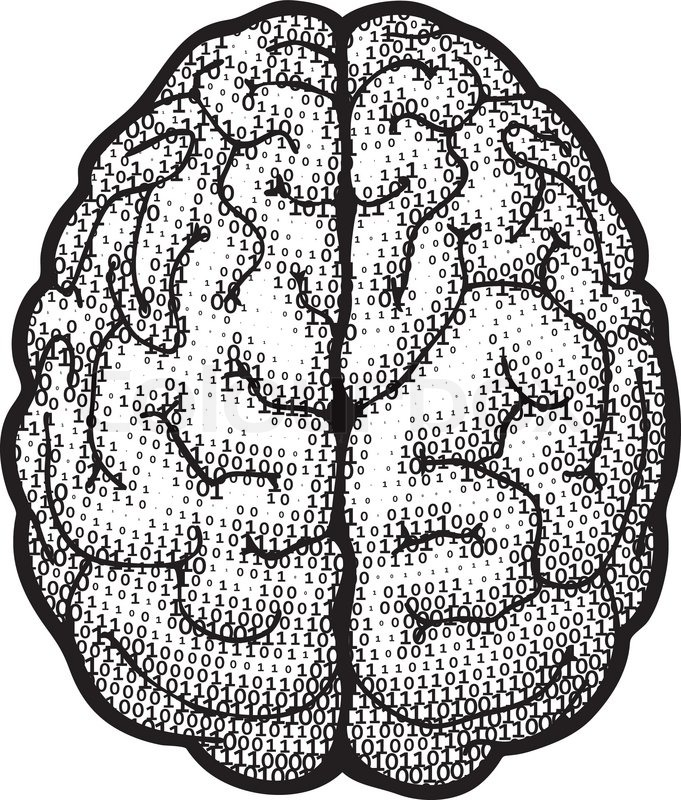 Top view brain consist of binary codes. Eps8. CMYK ...