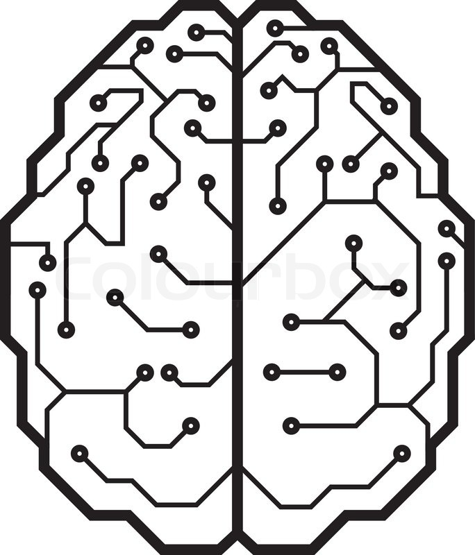 circuit board with a brain shape  eps8  cmyk  organized by