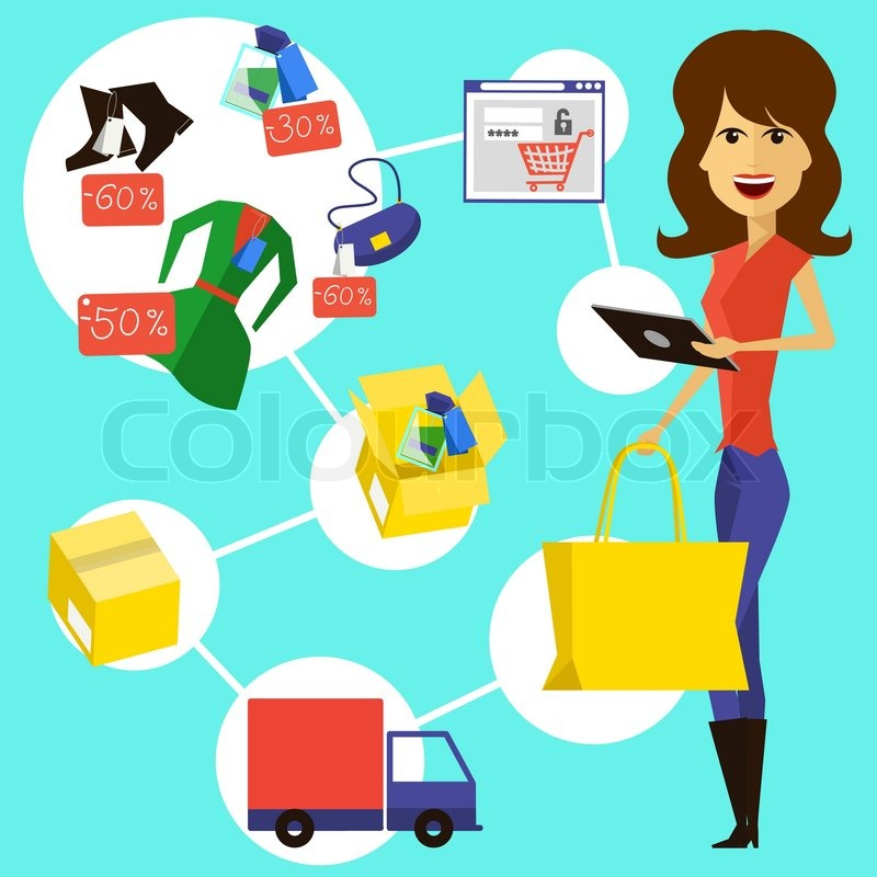 Happy woman with a bag and phone in stock vector for Online store design