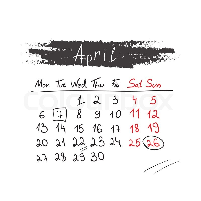 Calendar April Vector : Handdrawn calendar april vector illustration design