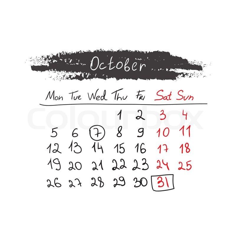 October Calendar Illustration : Handdrawn calendar october vector illustration