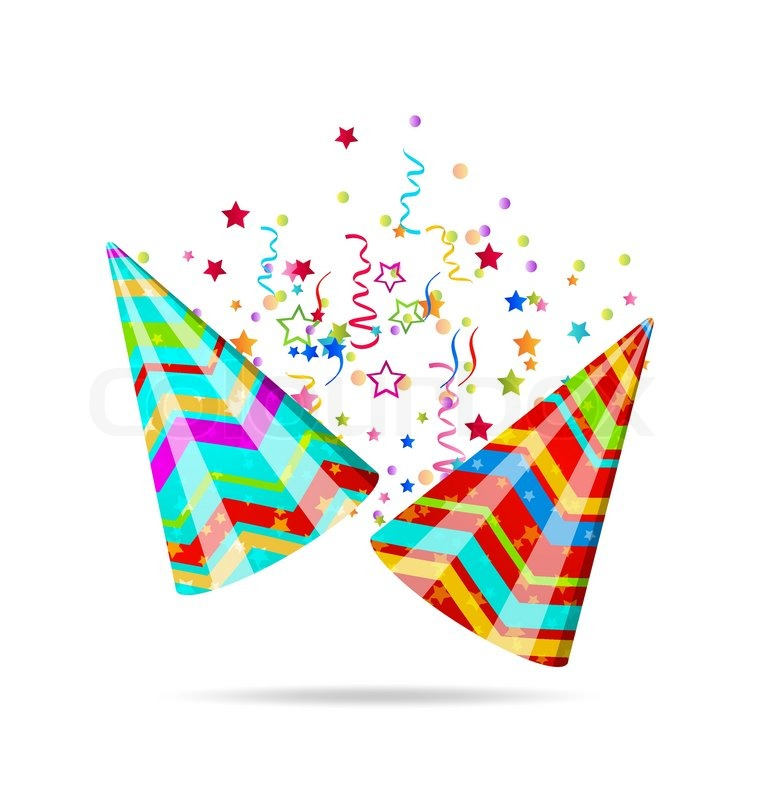 Illustration Colorful Party Hats With Confetti For Your