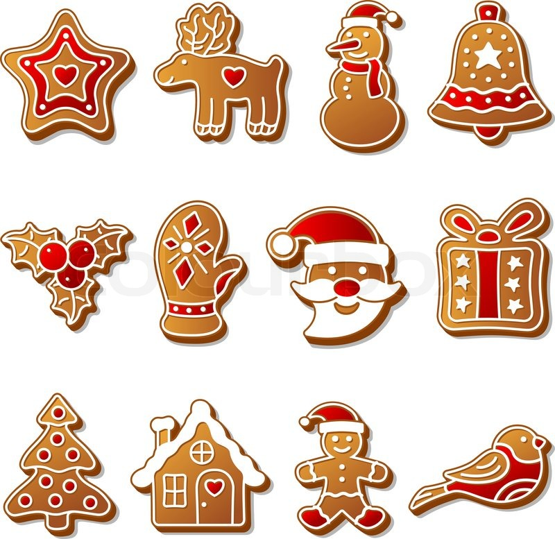 gingerbread christmas cookies set stock vector. Black Bedroom Furniture Sets. Home Design Ideas