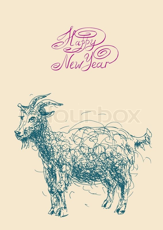 happy new year design card with goat or sheep chinese lunar symbol 2015 year stock vector colourbox