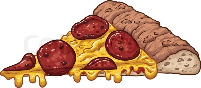 A slice of pepperoni pizza. Vector clip art illustration ...