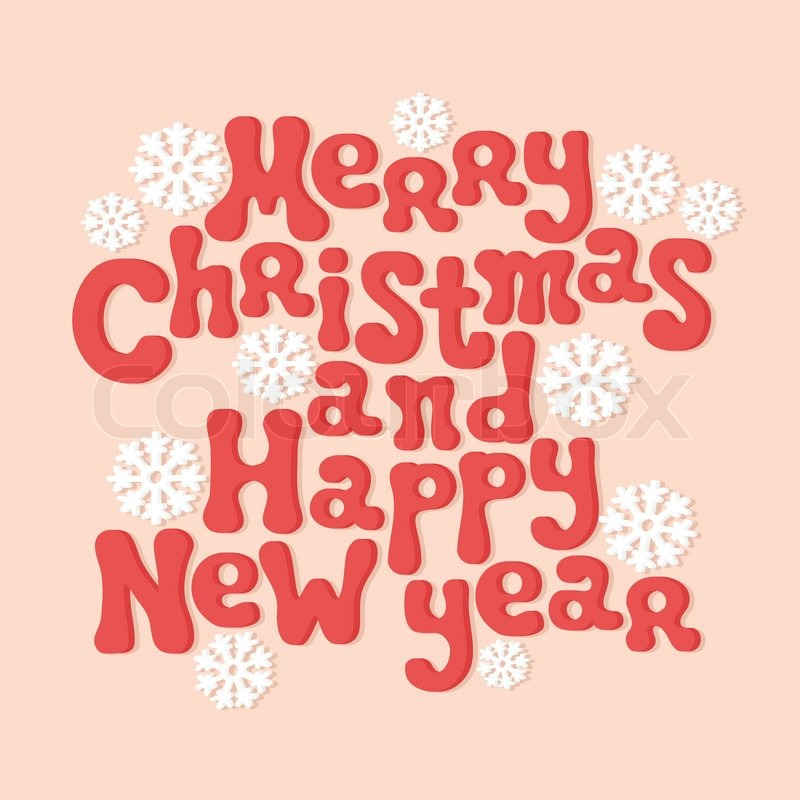 Merry Christmas and Happy New Year lettering greeting card 2015 ...