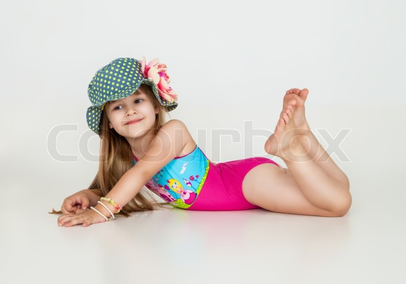 5e46614447745 Little girls posing in swimsuits and ... | Stock image | Colourbox