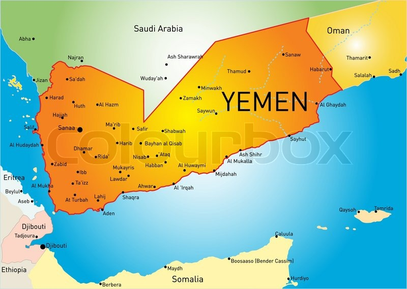 Abstract vector color map of yemen country colored by national flag recommended for you yemen map gumiabroncs Choice Image