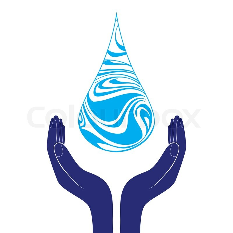 Save Water Sign Icon Hand Holds Water Drop Symbol Environmental
