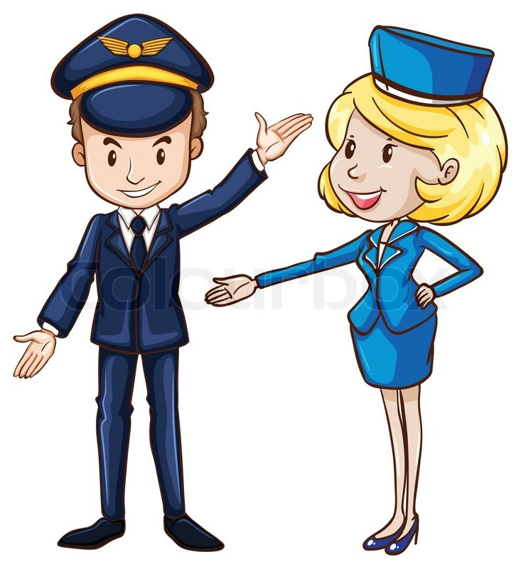 Illustration Of A Simple Drawing Of A Pilot And A
