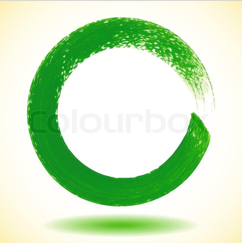 Green paintbrush circle vector frame | Stock Vector