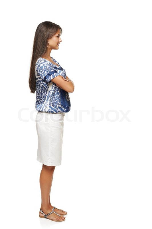 Full length side view business woman standing with folded hands and    Woman Standing Side White Background