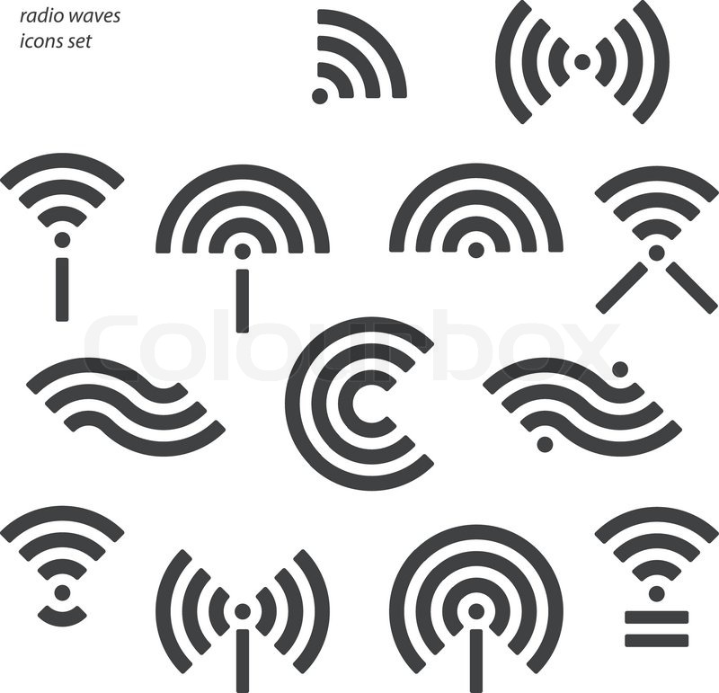 set of different wireless and wifi symbols  vector radio